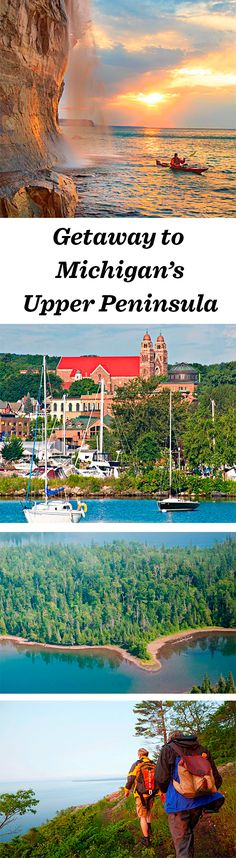 "The three largest Great Lakes (Huron, Michigan and Superior) lap against the shores of the upper arm of Michigan, where beauty and bounty feel timeless: <a href=""http://www.midwestliving.com/travel/michigan/upper-peninsula/two-day-getaway-michigans-upper-peninsula/"" rel=""nofollow"" target=""_blank"">www.midwestliving...</a> <a class=""pintag searchlink"" data-query=""%23upperpeninsula"" data-type=""hashtag"" href=""/search/?q=%23upperpeninsula&rs=hashtag"" rel=""nofollow"" title=""#upperpeninsula search Pinterest"">#upperpeninsula</a> <a class=""pintag searchlink"" data-query=""%23michigan"" data-type=""hashtag"" href=""/search/?q=%23michigan&rs=hashtag"" rel=""nofollow"" title=""#michigan search Pinterest"">#michigan</a> <a class=""pintag"" href=""/explore/travel/"" title=""#travel explore Pinterest"">#travel</a> <a class=""pintag searchlink"" data-query=""%23midwest"" data-type=""hashtag"" href=""/search/?q=%23midwest&rs=hashtag"" rel=""nofollow"" title=""#midwest search Pinterest"">#midwest</a>"