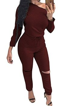 Fixmatti Women's Casual One-shoulder Ripped Blouson Long Jumpsuit Rompers Ruby - http://our-shopping-store.com