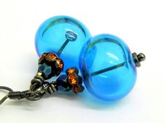 Aqua blue and Orange Lampwork Beads Earrings by LaurenceCollection, $28.00