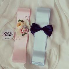 Pembe Mavi Çiçekli Takı Kurdelesi | Beyaz Buket
