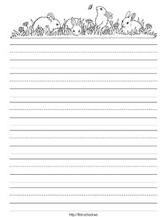 Spring or Easter bunny rabbit theme handwriting practice stationary paper for preschool, Kindergarten and early grades