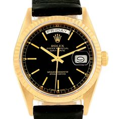 138a4d94deb 3839stx Rolex President Day-Date Yellow Gold Black Dial Mens Watch 18038  SwissWatchExpo Day Date