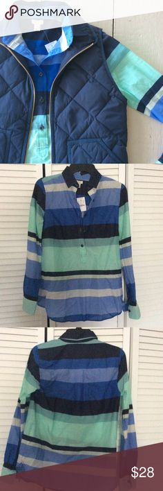 J Crew Stripe Popover Blue and mint green striped, half-button down. Lightweight, roomy fit.   *Condition: New with tags  🚫 No Trades ✅ Discounted Bundles ✅ Reasonable Offers J. Crew Tops Button Down Shirts