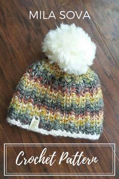 Chunky knit look crochet pattern, beanie, hat, pompom, diy, fall fashion, outdoors, ski, mountains, camping, outfit, handmade, mila sova