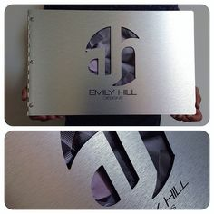 Custom interior design portfolio book with cut-out and engraving treatment on brushed silver aluminum | Flickr - Photo Sharing!