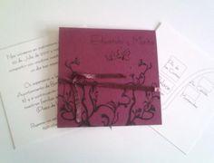http://www.artesanum.com/artesania-invitacion_de_boda_o_fiesta_modelo_tarjetas_sueltas_atadas_con_cinta-139947.html?indice=2  Tarjeta de color, con nombres de los novios y diseño.Dentro: Tarjetas de papel en color crudo o blanco, con datos de la celebración (pueden ir más de una tarjeta, lo ideal es que sean 3 a 4)1 Tarjeta de color, con fecha de la celebración y diseño.  Invitación todos los colores e idiomas: 1.5€.  Sobre desde: 0.25€   Se realizan bocetos sin cargo alguno, vía e-mail.