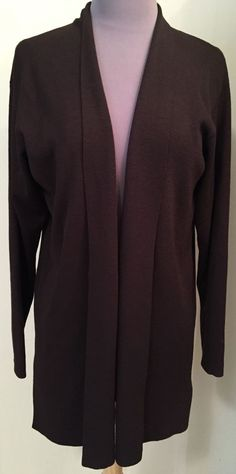 EILEEN FISHER Size medium Chocolate Brown knit open style Cardigan #EileenFisher #Cardigan