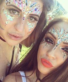 Glittery festival makeup