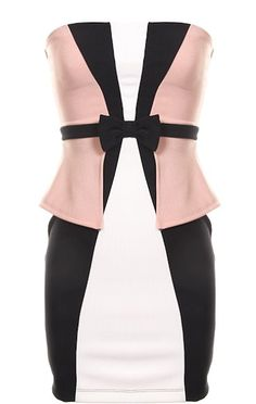 Room Service Dress: Features color-blocked paneling to the front with black, white and peach hues alternating for pop, edgy exposed rear zipper, bow-tie waistband for added charm, and a sexy form-fitting silhouette to finish.