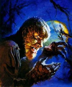 damsellover:  Basil Gogos artwork of Lon Chaney, Jr. as The Wolf Man.