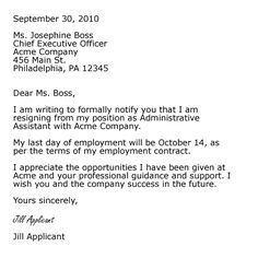 Sample Professional Letter Formats  Example Of A Resignation Letter