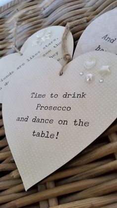 time to drink prosecco and dance on the table, hanging heart, wooden heart, gift for her, keepsake, quirky wooden heart, ANY TEXT, by HodgePodgeC on Etsy