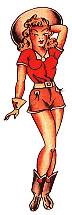 Sailor Jerry Vintage Tattoo Designs, Red Cow Girl, Pin Up, Sailor Jerry Rum, Sailor Jerry Tattoos, Pin Up Tattoos, Body Art Tattoos, Girl Tattoos, Work Inspiration, Tattoo Inspiration, Vintage Tattoo Design, Cowboy Tattoos