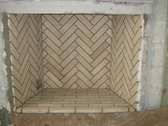fireplace with herringbone brick pattern - Google Search