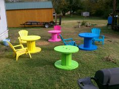 My redneck patio. Used cable reels to make pic nic tables