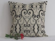 16 x 16 Decorative Pillow, Throw Pillow, Toss Pillow, Envelope Pillow Covers, Black/Gray Scroll Print Pillow Cover, Sofa Pillow, Elegance by TheTurquoiseBear on Etsy