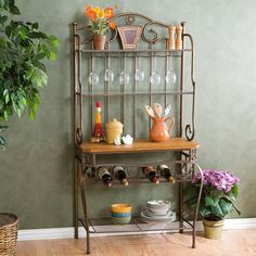 Southern Enterprises Decorative Bakers Rack with Wine Storage: