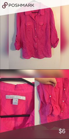 Pink Button Down Old Navy Blouse EUC worn only once before finding out I was pregnant! Very light weight material, great for warm offices! Can control sleeve length with a cute little button. Old Navy Tops Button Down Shirts