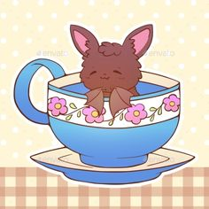 Buy Kawaii Animal Bat Pet by Polly_Grimm on GraphicRiver. Cute little funny kawaii animal pet illustration in a tea coffee cup cartoon vector print illustration. Kawaii Doodles, Kawaii Chibi, Cute Chibi, Kawaii Art, Kawaii Anime, Cute Animal Drawings, Kawaii Drawings, Cute Drawings, Cartoon Bat