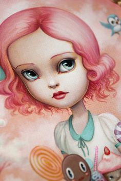 Mab Graves - Her Waifs and Strays — Flavia in Candyland - original painting by Mab graves. Art style DIY inspiration. Please choose cruelty free vegan art supplies