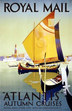 VINTAGE TRAVEL POSTER ROYAL MAIL LINE AUTUMN ATLANTIS CRUISES This is a current print which has been digitally edited and restored. The original ad was illustrated in 1927 by Daphne Padden. WORLDWIDE EXPRESS SHIPPING!! All orders require 1 Business day for processing and ship