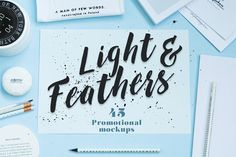 Light & Feathers-promotional mockups by Madebyvadim on @creativemarket