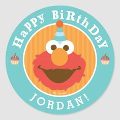 Customizable Sticker made by Zazzle Paper. Elmo Cupcakes, Cupcake Party, Cupcake Ideas, Cupcake Toppers, Sesame Street Party, Sesame Street Birthday, Elmo Birthday, Happy Birthday, Cupcake Birthday