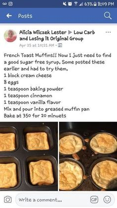 Low-Carb, Keto French Toast Muffins - Add a little stevia/ Low Carb Desserts, Low Carb Recipes, Cetogenic Diet, Pain Keto, French Toast Muffins, Sugar Free Syrup, Ketogenic Recipes, Keto Snacks, Code Red Diet