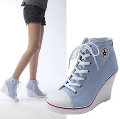 New Womens Ladies Lace Up Canvas Wedge High Heel Fashion Ankle Sneakers Shoes #TENWOOD #PlatformsWedges
