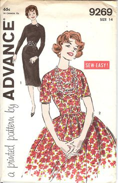 Advance 9269 Pattern Junior and Misses' Dress with two Skirts  ID504