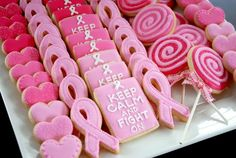 How cute are these breast cancer awareness cookies?! *2% Of All Cleavitz Revenue Goes Towards Breast Cancer Research. www.Cleavitz.com