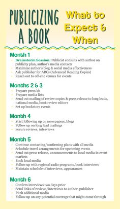 Infographic Publicity Timeline Book Launch Writer Fiction Writing Publishing
