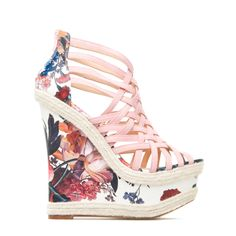 Nereida - Strappy floral-print, faux-leather and -suede wedge with jute rope accents and back zip