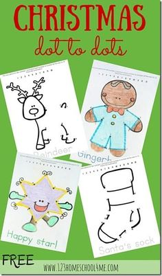 Practice recognizing numbers and number order with these sweet and free Christmas dot to dot coloring pages.