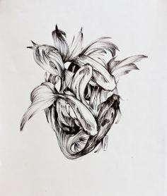 Floating Heart Black ink on paper