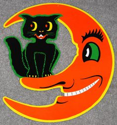 Vintage Beistle Die-Cut Decoration ~ Halloween Crescent Moon and Black Cat
