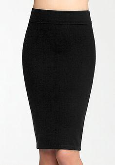 bebe | Midi Knit Skirt - Trends - Emerald Obsession #wardrobestaple or there's a cheaper alternative here: http://www.7twentyfour.com/shop/bottoms/midi-pencil-skirt/