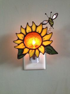 Stained glass Sunflower with Bumble Bee Night by CraftsbyTine