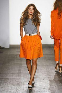 Orange + gray but light enough for summer