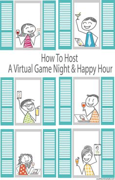 How to set up a virtual happy hour and game night. Super easy idea for safely getting together with friends and family during quarantine. Virtual Family Games, Virtual Families, Happy Hour, Candy Quotes, Candy Sayings, Diy Home Supplies, Family Game Night, Night Kids, Drinking Games