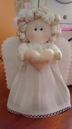 Famous Psychic Predictions About A War In America Homemade Dolls, Angel Crafts, Christmas Crafts, Christmas Ornaments, Angel Ornaments, Sewing Toys, Felt Animals, Fabric Dolls, Doll Patterns