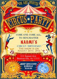 Cabaret Vintage, Vintage Circus, Carnival Birthday Invitations, Circus Tickets, Carnival Festival, Vintage Invitations, Wedding Invitations, Circus Birthday, 75th Birthday
