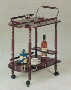 Cherry Finish Kitchen Dining Serving Cart Brass Accents by Coaster Home Furnishings. Save 45 Off!. $54.94. Some assembly may be required. Please see product details.. You are looking at a brand new cherry finish wood serving cart. This is the perfect item for serving wine, tea, snacks, and dishes at your parties or family get-togethers. MPN: 3512