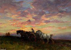 Panier de ferme au coucher du soleil de William Bradley Lamond (1857-1924, United Kingdom)