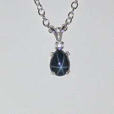 Genuine 6Ray Blue Star Sapphire Accented Necklace / by TSNjewelry, $64.95