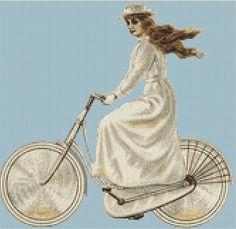 Art Deco Bicycle Counted Cross Stitch Chart, Art Deco Fashion Cross Stitch Pattern, Instant PDF Digital Download