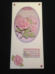 Handmade Blank Decoupage Floral Card  On Your by AmandaHLCreations