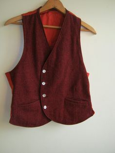 men's tweed vest 1930s1950s with art deco asymmetrical by edgertor, $43.99