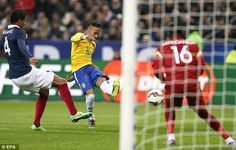 Neymar (centre) fired home for Brazil after the interval to give his side the lead against France on Thursday