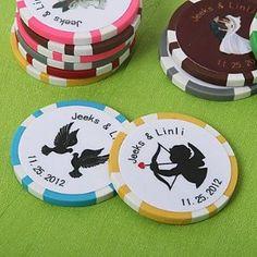 JIN Personalized Vegas Themed Poker Chip Wedding Favor (Set of 50)